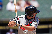 Nashville Sounds outfielder Josh Prince (17) at bat against the Round Rock Express in the Pacific Coast League baseball game on May 5, 2013 at the Dell Diamond in Round Rock, Texas. Round Rock defeated Nashville 5-1. (Andrew Woolley/Four Seam Images).