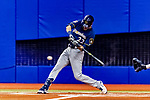 25 March 2019: Milwaukee Brewers outfielder Christian Yelich singles in the first inning of an exhibition game against the Toronto Blue Jays at Olympic Stadium in Montreal, Quebec, Canada. The Brewers defeated the Blue Jays 10-5 in the first of two MLB pre-season games in the former home of the Montreal Expos. Mandatory Credit: Ed Wolfstein Photo *** RAW (NEF) Image File Available ***