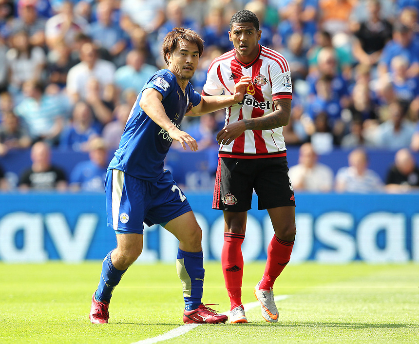 Leicester City's Shinji Okazaki in action during todays match<br /> <br /> Photographer Rachel Holborn/CameraSport<br /> <br /> Football - Barclays Premier League - Leicester City v Sunderland - Saturday 8th August 2015 - King Power Stadium - Leicester<br /> <br /> <br /> &copy; CameraSport - 43 Linden Ave. Countesthorpe. Leicester. England. LE8 5PG - Tel: +44 (0) 116 277 4147 - admin@camerasport.com - www.camerasport.com