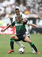 Calcio, Serie A: Juventus - Sassuolo, Turin, Allianz Stadium, September 16, 2018.<br /> Sassuolo's Domenico Berardi (front) in action with Juventus' Alex Sandro (back) during the Italian Serie A football match between Juventus and  Sassuolo at Torino's Allianz stadium, September 16, 2018.<br /> UPDATE IMAGES PRESS/Isabella Bonotto
