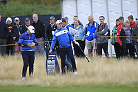 Conor Purcell (GB&I) on the 1st during the Foursomes at the Walker Cup, Royal Liverpool Golf CLub, Hoylake, Cheshire, England. 07/09/2019.<br /> Picture Thos Caffrey / Golffile.ie<br /> <br /> All photo usage must carry mandatory copyright credit (© Golffile | Thos Caffrey)