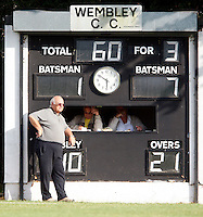 Wembley scorebox during the Middlesex County League Division three game between Wembley and North London at Vale Farm, Wembley on Sat August 6, 2011