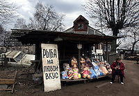 A woman sells stuffed toys near a disused car that lays trashed in front of a wooden house on the road between Moscow and St Petersburg, near the town of Tver.