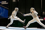 25 MAR 2016:  Princeton's Gracie Stone is tagged by Mathilda Taharo of St. John's in a semifinal match of the women's saber at the Division I Women's Fencing Championship held at the Gosman Sports and Convention Center in Waltham, MA. Stone won the match 15-8 to advance to the finals. Damian Strohmeyer/NCAA Photos