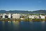 Aerial view of Esplanade and city centre.  Cairns, Queensland, Australia.