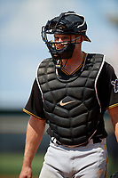 Pittsburgh Pirates catcher Arden Pabst (75) during a Florida Instructional League game against the New York Yankees on September 25, 2018 at Yankee Complex in Tampa, Florida.  (Mike Janes/Four Seam Images)