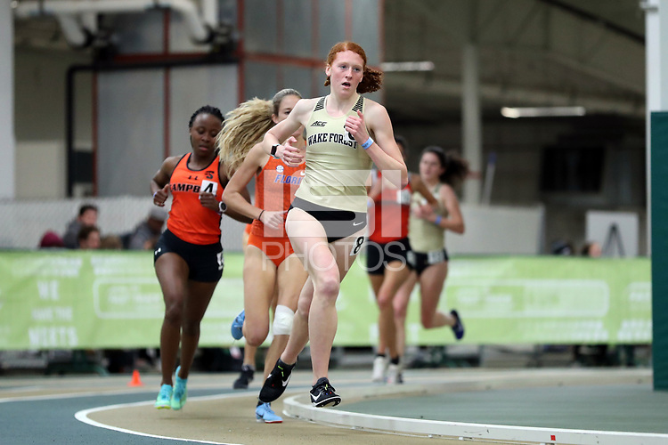 WINSTON-SALEM, NC - FEBRUARY 07: Meredith Helton #8 of Wake Forest University runs in the Women's 3000 Meters at JDL Fast Track on February 07, 2020 in Winston-Salem, North Carolina.