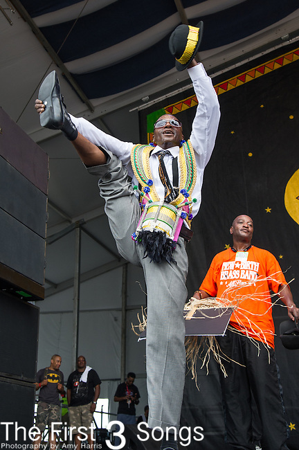 The New Birth Brass Band performs during the 2015 New Orleans Jazz & Heritage Festival in New Orleans, Louisiana.