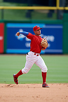 Clearwater Threshers shortstop Emmanuel Marrero (33) throws to first base during the first game of a doubleheader against the Lakeland Flying Tigers on June 14, 2017 at Spectrum Field in Clearwater, Florida.  Lakeland defeated Clearwater 5-1.  (Mike Janes/Four Seam Images)