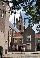 Nederland Delft - Augustus 2018. Het Prinsenhof in Delft. Op de achtergrond de Oude Kerk.   Foto Berlinda van Dam / Hollandse Hoogte