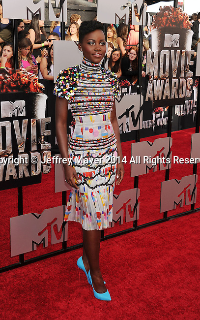 LOS ANGELES, CA- APRIL 13: Actress Lupita Nyong'o attends the 2014 MTV Movie Awards at Nokia Theatre L.A. Live on April 13, 2014 in Los Angeles, California.