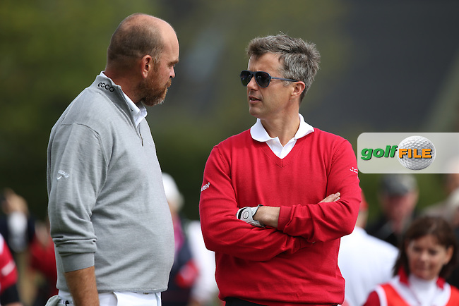 HKH Kronprins Frederik taking with Thomas Bjorn (DEN) during the Made in Denmark 2014 Pro-Am from the Himmerland Golf & Spa Resort, Aalborg, Denmark. Picture:  David Lloyd / www.golffile.ie