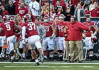 NWA Democrat-Gazette/CHARLIE KAIJO Arkansas Razorbacks head coach Bret Bielema directs his players during the second half of a football game on Friday, November 24, 2017 at Razorback Stadium in Fayetteville.