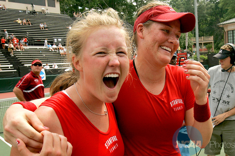 22 MAY 2005:  Theresa Logar (left) and Erin Burdette of Stanford celebrate after winning the Division 1 Women's Tennis Championship held at the Dan Magill Tennis Center at the University of Georgia in Athens.  Logar and Burdette each won their singles matches as Stanford defeated Texas by a score of 4-0 to take home the team title for the second straight year.  Trevor Brown, Jr./NCAA Photos