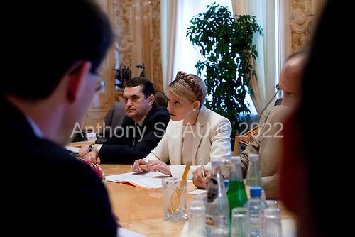 Kiev, Ukraine.July 13, 2005 ..Ukrainian Prime Minister Yulia Teminchenko meets with a German delegation in her office.