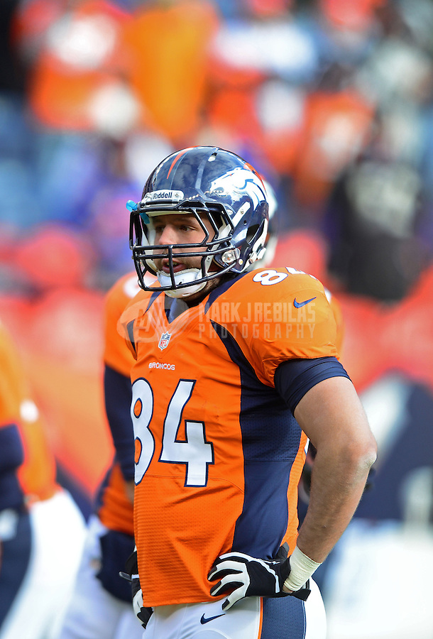 Jan 12, 2013; Denver, CO, USA; Denver Broncos tight end Jacob Tamme (84) against the Baltimore Ravens during the AFC divisional round playoff game at Sports Authority Field.  Mandatory Credit: Mark J. Rebilas-