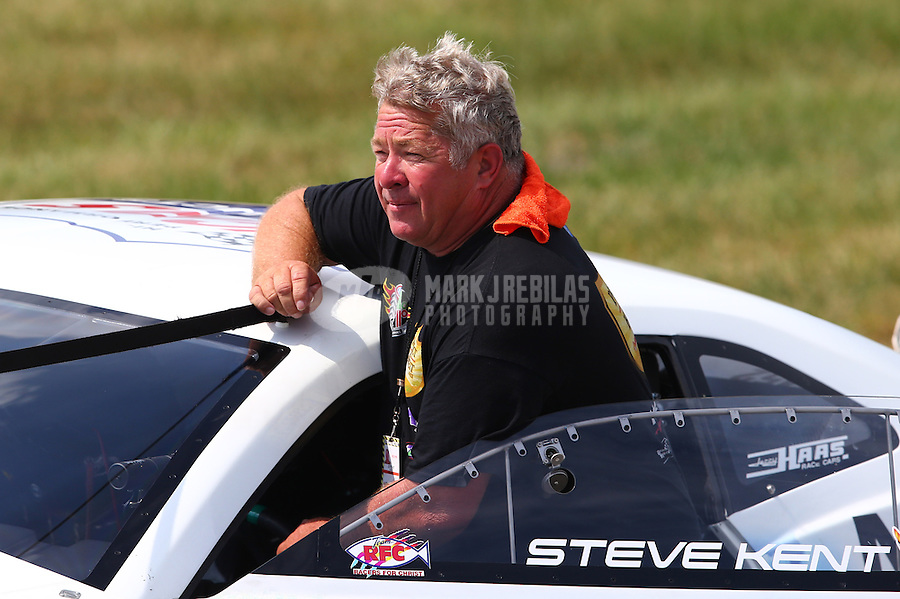 Aug. 31, 2013; Clermont, IN, USA: NHRA pro stock driver Steve Kent during qualifying for the US Nationals at Lucas Oil Raceway. Mandatory Credit: Mark J. Rebilas-