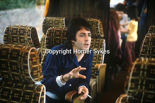"Paul McCartney. 1970s Wings tour bus The photographs from this set were taken in 1975. I was on tour with them for a children's ""Fact Book"". This book was called, The Facts about a Pop Group Featuring Wings. Introduced by Paul McCartney, published by G.Whizzard. They had recently recorded albums, Wildlife, Red Rose Speedway, Band on the Run and Venus and Mars. I believe it was the English leg of Wings Over the World tour. But as I recall they were promoting,  Band on the Run and Venus and Mars in particular."