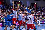 SCHWEIKARDT, Michael (#8 TVB 1898 Stuttgart) \HAIDER, Maximilian (#14 DIE EULEN LUDWIGSHAFEN) \DURAK, Pascal (#23 DIE EULEN LUDWIGSHAFEN) \STUEBER, Frederic (#2 DIE EULEN LUDWIGSHAFEN) \SCHIMMELBAUER, Tobias (#2 TVB 1898 Stuttgart) \SPAETH, Manuel (#9 TVB 1898 Stuttgart) \ beim Spiel in der Handball Bundesliga, TVB 1898 Stuttgart - Die Eulen Ludwigshafen.<br /> <br /> Foto &copy; PIX-Sportfotos *** Foto ist honorarpflichtig! *** Auf Anfrage in hoeherer Qualitaet/Aufloesung. Belegexemplar erbeten. Veroeffentlichung ausschliesslich fuer journalistisch-publizistische Zwecke. For editorial use only.