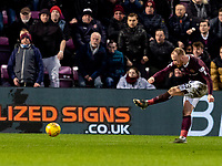 26th January 2020, Tynecastle Park, Edinburgh, Scotland; Scottish Premier League football, Hearts of Midlothian versus Rangers; Liam Boyce of Hearts shoots and scores the second Hearts goal to make it 2-1 to Hearts