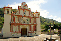 The restored 17th century Iglesia de San Matias church in the Lenca Indian village of La Campa, Lempira, Honduras...