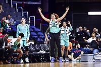 Washington, DC - June 15, 2018: New York Liberty center Amanda Zahui B. (17) celbrates a htree point basket by her teammate during game between the Washington Mystics and New York Liberty at the Capital One Arena in Washington, DC. (Photo by Phil Peters/Media Images International)