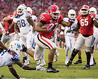 Athens, GA - November 18, 2017: The number 7 ranked Georgia Bulldogs host the Kentucky Wildcats at Sanford Stadium.