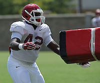 NWA Democrat-Gazette/ANDY SHUPE<br /> Arkansas linebacker Kendrick Jackson (42) participates in a drill Saturday, Aug. 8, 2015. during practice at the university football practice field in Fayetteville.