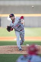 Louisville Bats pitcher Lucas Luetag (19) delivers a pitch to the plate against the Toledo Mud Hens during the International League baseball game on May 17, 2017 at Fifth Third Field in Toledo, Ohio. Toledo defeated Louisville 16-2. (Andrew Woolley/Four Seam Images)