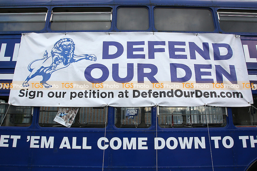 Defend Our Den banner on the blue Millwall bus during Millwall Lionesses vs Sheffield FC Ladies, FA Women's Super League FA WSL2 Football at The Den on 9th October 2016