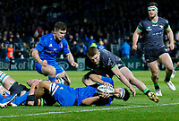4th January 2020; RDS Arena, Dublin, Leinster, Ireland; Guinness Pro 14 Rugby, Leinster versus Connacht; Max Deegan of Leinster scoring the opening try in the third minute 5 - 0 - Editorial Use