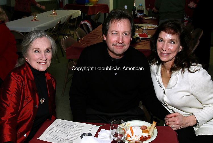 LITCHFIELD, CT, 02/14/08- 021409BZ22- From left- Yvonne Piccot, of Southbury, and Mike and Cori Mirabilio, of Litchfield, at a Valentine's Day Dance at the Lourde's in Litchfield Saturday night.<br /> Jamison C. Bazinet Republican-American