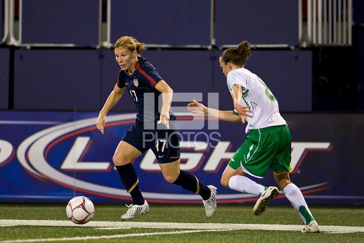United States (USA) defender Lori Chalupny (17) is marked by Republic of Ireland (IRL) midfielder Aine O'Gorman (8). The women's national team of the United States (USA) defeated the Republic of Ireland (IRL) during an international friendly at Giants Stadium in East Rutherford, NJ on September 17, 2008. Photo by Howard C. Smith/isiphotos.com