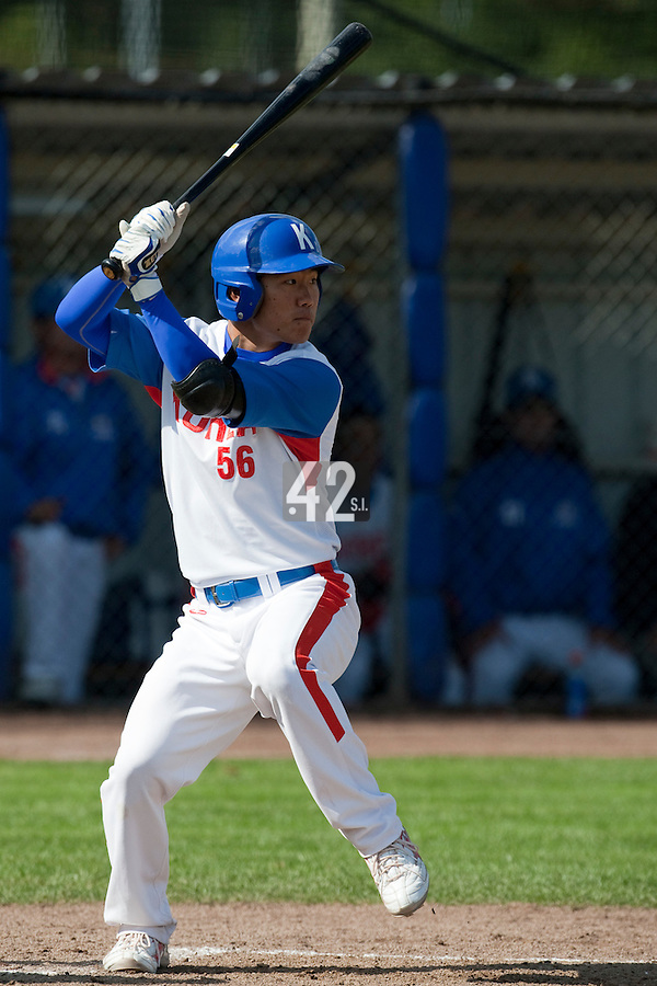 14 September 2009: Bon-Ki Shin of South Korea is seen at bat during the 2009 Baseball World Cup Group F second round match game won 15-5 by South Korea over Great Britain, in the Dutch city of Amsterdan, Netherlands.