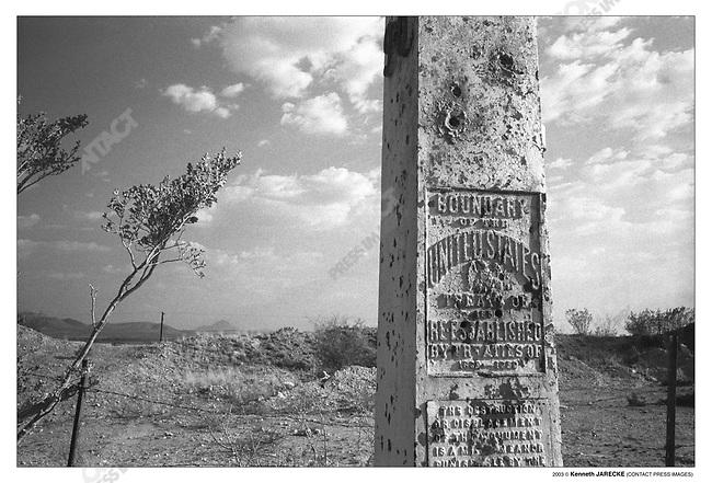 Border fence looking into Mexico, between Naco and Douglas, Arizona, July 8, 2003.