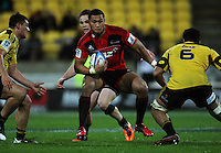Robbie Fruean props to step. Super 15 rugby match - Crusaders v Hurricanes at Westpac Stadium, Wellington, New Zealand on Saturday, 18 June 2011. Photo: Dave Lintott / lintottphoto.co.nz