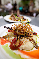 Grilled Scallops with mashed potatoes, shredded fried onion garnish