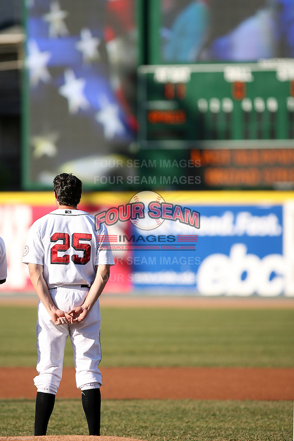 May 29th 2008:  Ryan Roberson of the Erie Seawolves, Class-AA affiliate of the Detroit Tigers, during a game at Jerry Uht Park in Erie, PA.  Photo by:  Mike Janes/Four Seam Images
