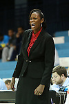 05 December 2012: Radford head coach Tajama Abraham Ngongba (VIR). The University of North Carolina Tar Heels played the Radford University Highlanders at Carmichael Arena in Chapel Hill, North Carolina in an NCAA Division I Women's Basketball game. UNC won the game 64-44.