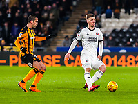 Sheffield United's midfielder Lee Evans (20) closed down by Hull City's midfielder Evandro (15) during the Sky Bet Championship match between Hull City and Sheff United at the KC Stadium, Kingston upon Hull, England on 23 February 2018. Photo by Stephen Buckley / PRiME Media Images.
