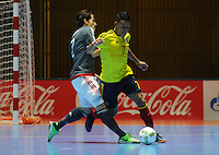 CALI -COLOMBIA, 11-09-2016. La selección de Futsal de Paraguay eliminó a Colombia del Mundial Futsal Fifa Colombia  2016 jugado en el Coliseo del Pueblo en Cali, Colombia. / The selection of Paraguay won Futsal and eliminated Colombia  of Colombia Fifa Futsal World 2016 played at the Coliseo del Pueblo in Cali, Colombia ./A. Photo:VizzorImage / Nelson Rios  / Cont