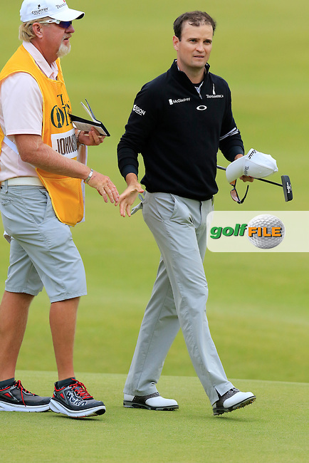 Zach JOHNSON (USA) finishes on the 18th green during Sunday's Round 3 of the 144th Open Championship, St Andrews Old Course, St Andrews, Fife, Scotland. 19/07/2015.<br /> Picture Eoin Clarke, www.golffile.ie