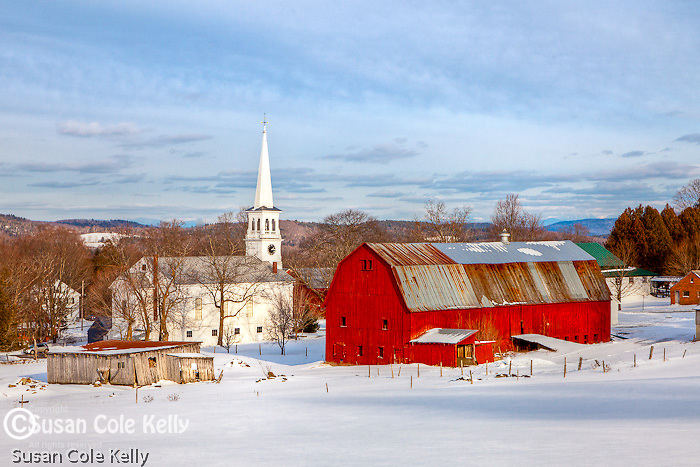 The Peacham Congregational Church  and the Village Farm in Peacham, Vermont, USA