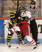 Jace Hennig (Merrimack - 9), Charlie McAvoy (BU - 7), Marc Sullivan - The Boston University Terriers defeated the visiting Merrimack College Warriors 4-0 (EN) on Friday, January 29, 2016, at Agganis Arena in Boston, Massachusetts.