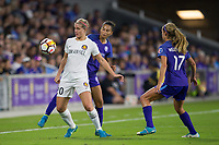 Orlando, FL - Saturday March 24, 2018:  Utah Royals forward Elise Thorsnes (20) protects the ball from Orlando Pride defender Poliana Barbosa Medeiros (19) during a regular season National Women's Soccer League (NWSL) match between the Orlando Pride and the Utah Royals FC at Orlando City Stadium. The game ended in a 1-1 draw.