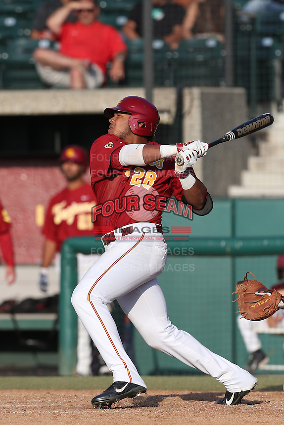 Timmy Robinson #28 of the Southern California Trojans bats against the Oregon State Beavers at Dedeaux Field on May 23, 2014 in Los Angeles, California. Southern California defeated Oregon State, 4-2. (Larry Goren/Four Seam Images)