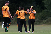 Gidea Park players celebrate the wicket of F Jacobs during Gidea Park and Romford CC vs Harold Wood CC, Shepherd Neame Essex League Cricket at Gidea Park Sports Ground on 6th July 2019