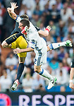 Daniel Carvajal Ramos (r) of Real Madrid fights for the ball with Saul Niguez Esclapez of Atletico de Madrid during their 2016-17 UEFA Champions League Semifinals 1st leg match between Real Madrid and Atletico de Madrid at the Estadio Santiago Bernabeu on 02 May 2017 in Madrid, Spain. Photo by Diego Gonzalez Souto / Power Sport Images