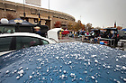 Oct. 29, 2011; A brief hailstorm hit the South Bend area before the game between the Notre Dame Fighting Irish and the Navy Midshipmen at Notre Dame Stadium. ..Photo by Matt Cashore
