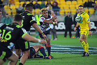 Will Genia passes from a ruck during the Super Rugby match between the Hurricanes and Rebels at Westpac Stadium in Wellington, New Zealand on Saturday, 4 May 2019. Photo: Dave Lintott / lintottphoto.co.nz